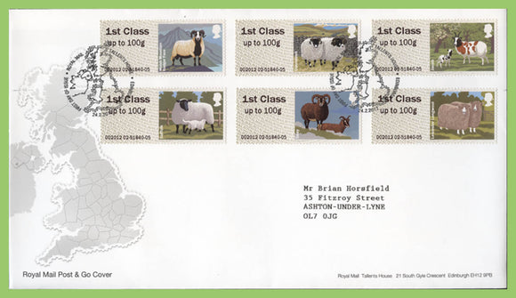 G.B. 2012 Post & Go Sheep set on Royal Mail First Day Cover, Tallents House