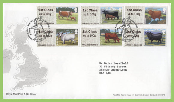 G.B. 2012 Post & Go Cattle set on Royal Mail First Day Cover, Tallents House