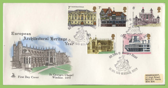 G.B. 1975 Architectural Heritage set on Mercury First Day Cover, St Georges Chapel, Windsor