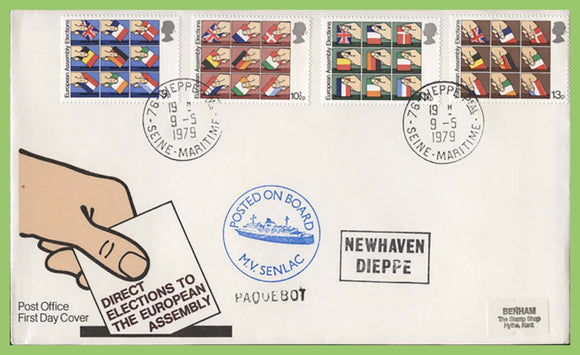 G.B. 1979 European Elections set on Post Office First Day Cover, Dieppe, Paquebot