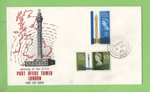 G.B. 1965 Post Office Tower set on First Day Cover, Faversham
