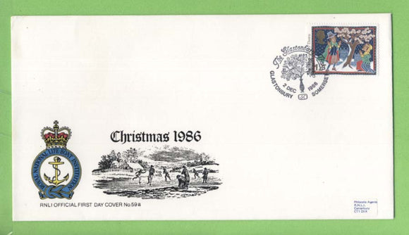 G.B. 1986 Christmas 12p Glastonbury Thorn  on official RNLI First Day Cover, Glastonbury