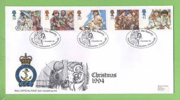 G.B. 1995 Christmas set on official RNLI First Day Cover, Nasareth
