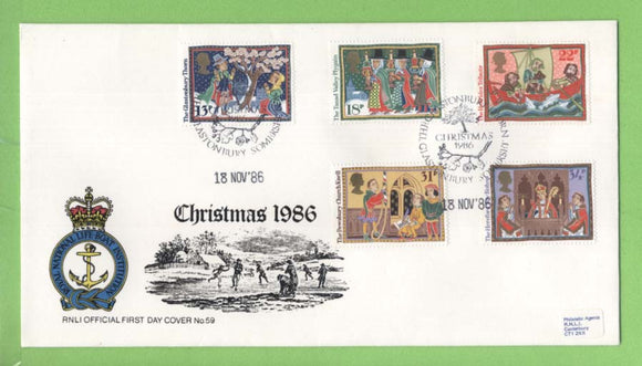 G.B. 1986 Christmas set on RNLI oficial First Day Cover, Glastonbury