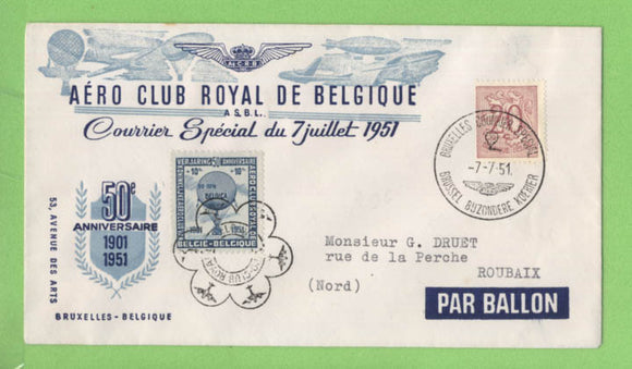 Belgium 1951 Aero Club Balloon cover with tied semie postal label