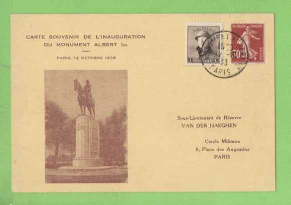 France/ Belgium 1938 Souvenir card, Inauguration of the Albert Monument