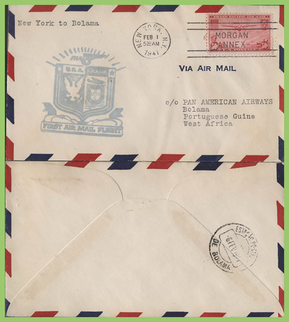 U.S.A. 1941 First Flight Cover, New York to Boloma (Portuguese Guinee), with cachet