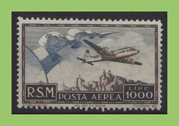 San Marino 1951 1000L Air, Flag, Douglas DC-6 Airliner and Mt. Titano stamp UM. MNH