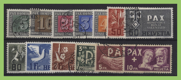 Switzerland 1945 Pax (Peace) set fine used, sg 447/459 Cat £1325+