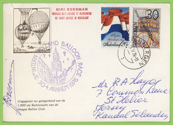 Netherlands 1976 Balloon Race flown & signed card with tied label