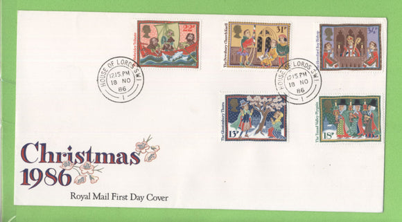 G.B. 1986 Christmas set on Royal Mail First Day Cover, House of Lords