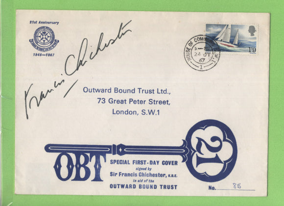 G.B. 1967 Chichester on signed Outward Bound Trust numbered cover, House of Commons