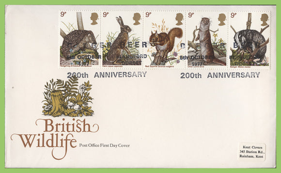 G.B. 1977 British Wildlife set on Cotswold First Day Cover, Badger Beer