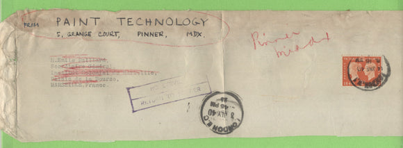 G.B. 1940 grubby part cover with WWII 'No Service - RTS' cachet. Services suspended due to war and cover returned