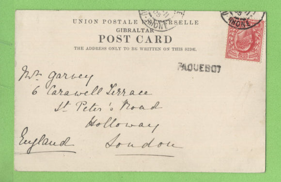 G.B. 1905 Europa Point Gibraltar) PPC with Edward 1d and French Paquebot cancel