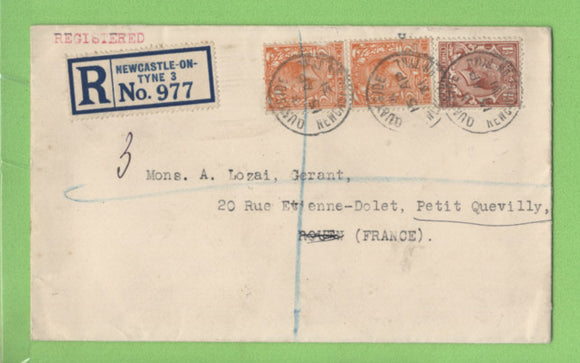 G.B. 1931 KGV 2 x 2d & 1½d, registered ex Newcastle upon tyne, to Petit Quevilly