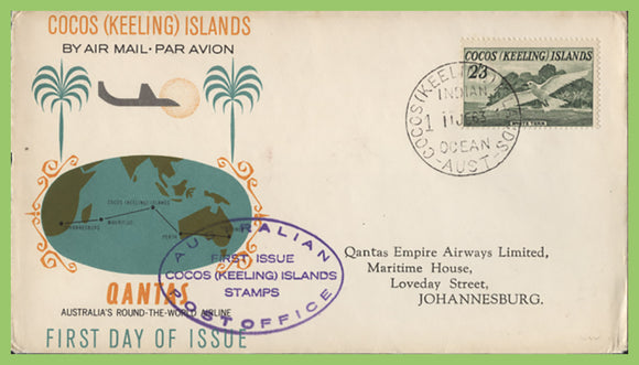 Cocos (Keeling) Island 1963 2/3 on Qantas First Day of Issue/ Flight cover to Johannesburg, S.A.