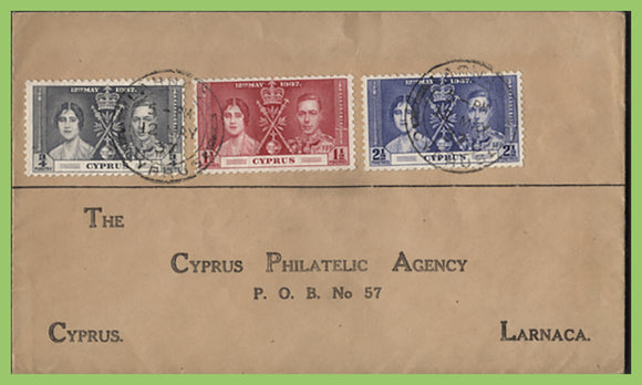 Cyprus 1937 KGVI Coronation set on Printed First Day Cover, Larnaca