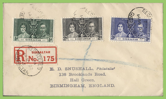 Gibraltar 1937 KGVI Coronation set on registered First Day Cover