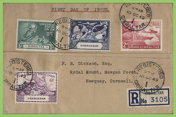 Gibraltar 1949 UPU set on registered First Day Cover