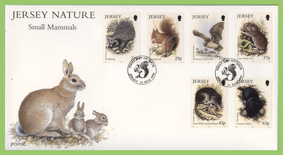 Jersey 1999 Small Mammals set on First Day Cover