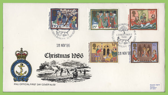 G.B. 1986 Christmas on official RNLI First Day Cover, Glastonbury Thorn