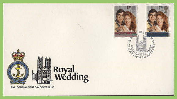 G.B. 1986 Royal Wedding set on official RNLI First Day Cover, Westminster Abbey