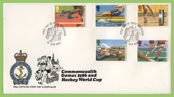 G.B. 1986 Commonwealth Games set on official RNLI First Day Cover, Edinburgh