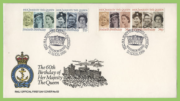 G.B. 1986 QEII 60th Birthday set on official RNLI First Day Cover, Windsor