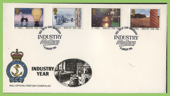 G.B. 1986 Industry Year set on official RNLI First Day Cover, Birmingham