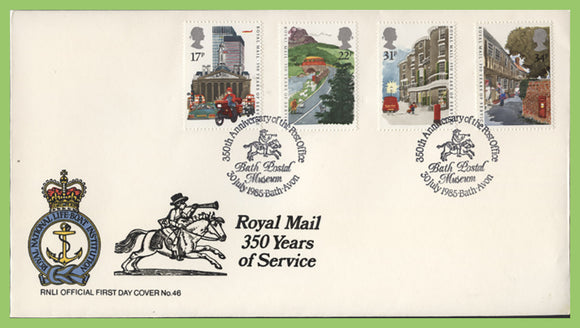 G.B. 1985 Royal Mail 350 Years of Service set on official RNLI First Day Cover, Bath
