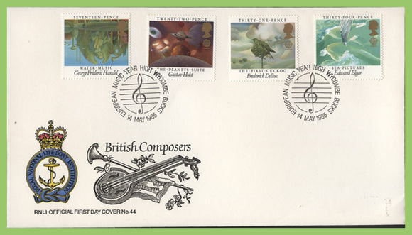 G.B. 1985 The British Composers on official RNLI First Day Cover, High Wycombe