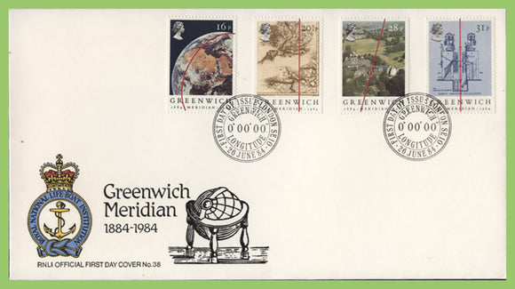 G.B. 1984 Greenwich Meridian on official RNLI First Day Cover, Greenwich