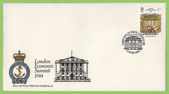 G.B. 1984 London Economic Summit on official RNLI First Day Cover, London SW