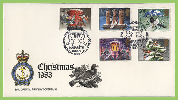 G.B. 1983 Christmas set on official RNLI First Day Cover, Nasareth