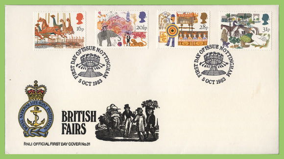 G.B. 1983 British Fairs set on official RNLI First Day Cover, Nottingham