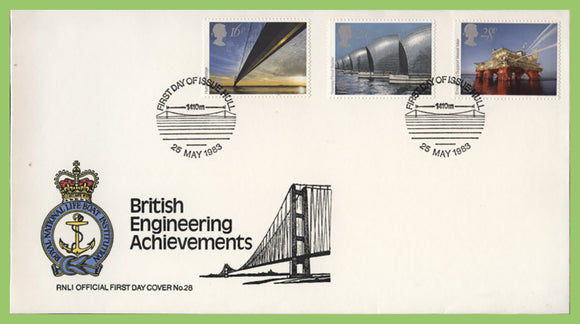 G.B. 1983 Engineering Achievements set on official RNLI First Day Cover, Hull