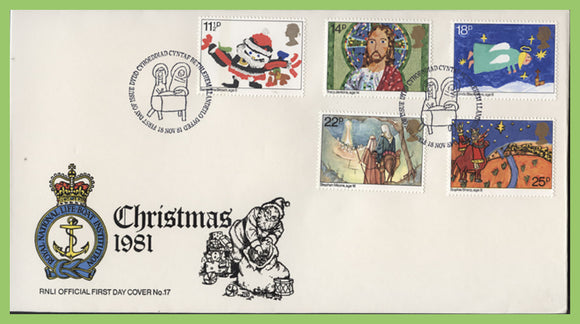 G.B. 1981 Christmas set on official RNLI First Day Cover, Bethlehem
