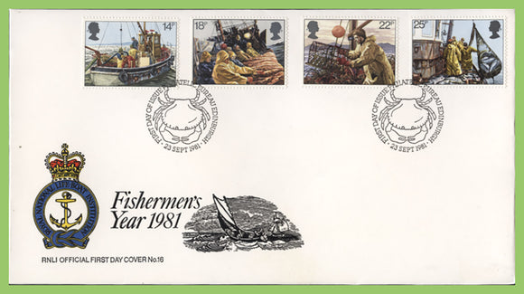 G.B. 1981 Fishing set on official RNLI First Day Cover, Bureau