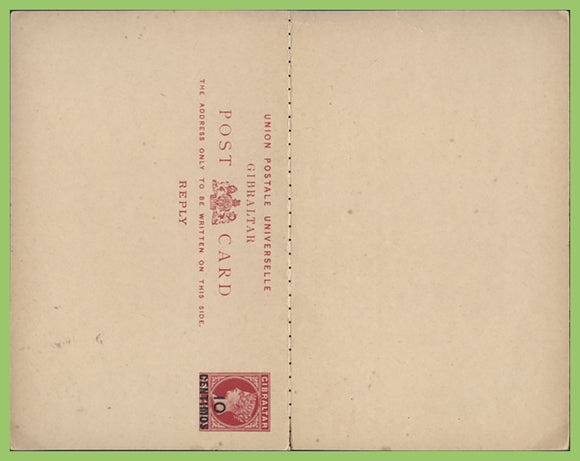 Gibraltar 1889-90 Queen Victoria 10c ovpt postal stationery card with reply still attached, unused
