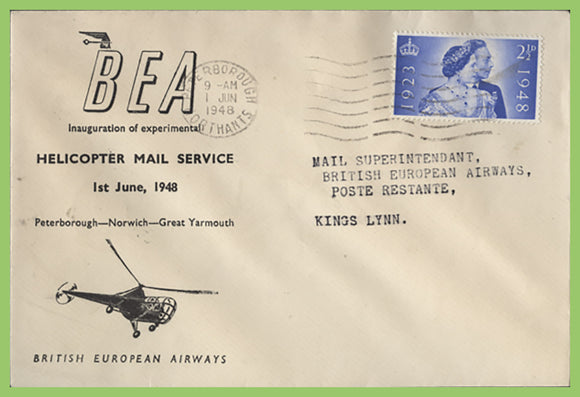 G.B. 1948 BEA Helicopter Mail Service, Peterborough to Kings Lynn