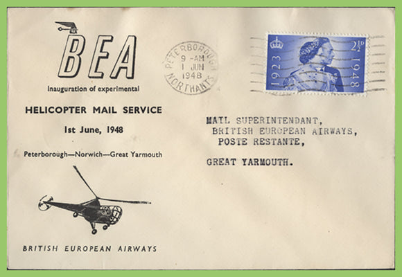 G.B. 1948 BEA Helicopter Mail Service, Peterborough to Great Yarmouth