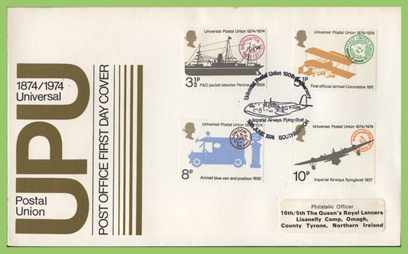 G.B. 1974 UPU set on Post Office First Day Cover, Southampton