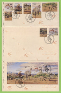 Australia 1993 Prehistoric Animals set, sheet & s/a on three First Day Covers