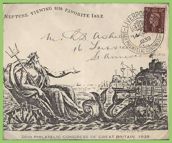 G.B. 1939 KGVI 1½d on 26th Philatelic Congress of Great Britain Cover, Special cancel