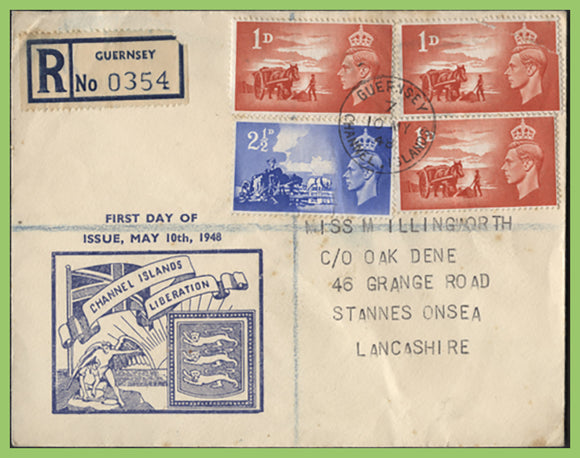 G.B. - Guernsey 1948 Channel Island Liberation on registered Guernsey First Day Cover