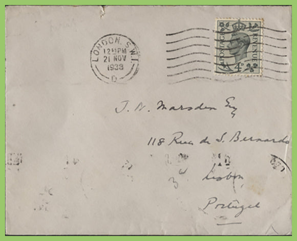 G.B. 1938 KGVI 4d Grey Green definitive on plain First Day Cover, London SW1