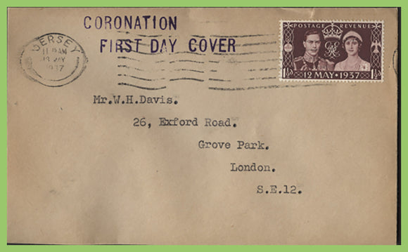 G.B. 1937 KGVI Coronation issue First Day Cover, Jersey