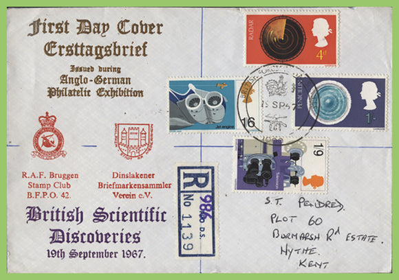 G.B. 1967 British Discovery set on RAF Bruggen First Day Cover, BFPS 1000
