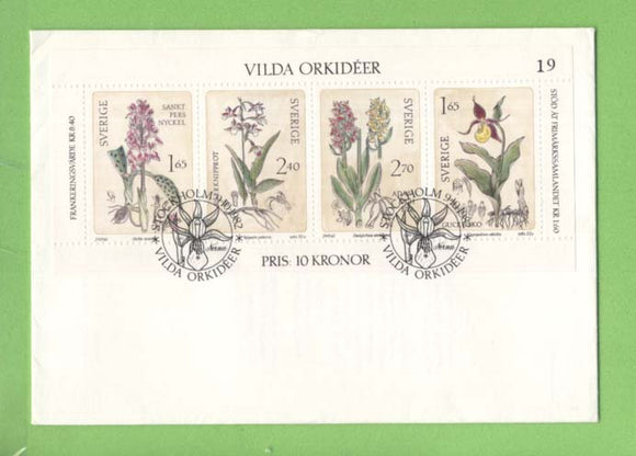 Sweden 1982 Wild Orchids Sheet on First Day Cover